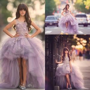 2017 Pretty Tul Lavanda Alto Bajo Flor Vestidos de las niñas Princesa de encaje Apliques Ruffles Niños Vestidos de baile Vestidos de chicas