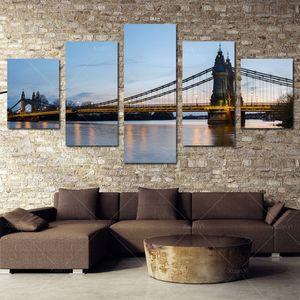 5 Panel Moderne Gedruckt London Cityscape Öl Leinwand Malerei Brücke Cuadros Bild Wandkunst Für Bett Zimmer Ungerahmt