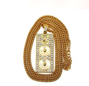 مجوهرات هوب الكلاسيكية مغني الراب الذهب جودة عالية هوب الحقيقي دي جي صوت الورك القلائد رجل المتكلم مطلي مربع المعلقات سلسلة 18K هيب hjkrk
