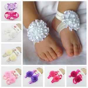 inci ayaklar saç çiçek Ayakkabılar sandalet bebek çiçekleri ile bebek yalınayak çiçek aksesuarları Avrupa ve Amerikan Çocuk feetwear dayanak