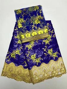 Tela de encaje africano bordado jacquard africano bazin riche getzner para el vestido de moda nigeriano con cuentas GYBL0120