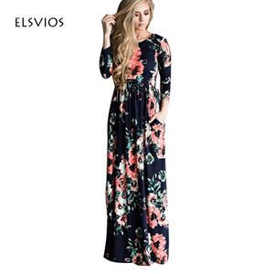 Al por mayor-ELSVIOS tallas grandes mujeres vestido estampado floral largo vestido de playa Boho piso-longitud manga tres cuartos suelta vestido maxi Vestidos