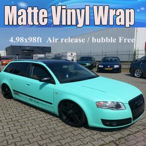 Premium Tiffany Blue Matte Vinilo Wrap Mint Matt Vinyl Car Wrapping con burbujas de aire Free Car pegatinas 1.52x30m / Roll 5x98ft