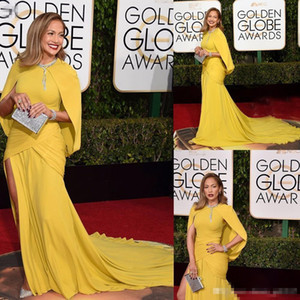 73th Golden Globe Awards Celebrity Dresses Jennifer Lopez Red Carpet Dress Yellow Mermaid Ruched Long Evening Celebrity Dresses