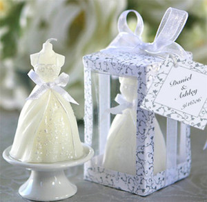 2016 New Romantic White Bridal Wedding Dress Shape Candle Bougie Wedding Party Decor Candle Scented Candles Party Wedding Supplies