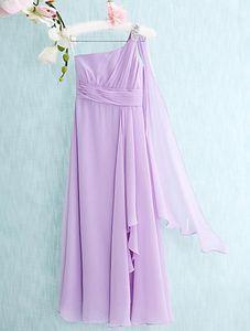 Dernier étage-longueur en mousseline de soie une ligne colonne une épaule robes de demoiselle d'honneur junior épaule pas cher perlée rez-de-longueur des robes sans manches
