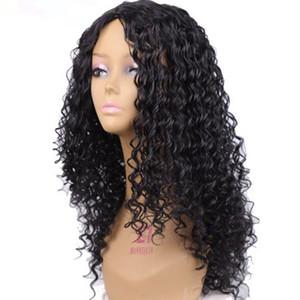 Uzun Afro kinky Kıvırcık Yok Dantel Ön Sentetik Saç Peruk Siyah Renk Moda Kadınlar için Peruk