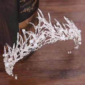 Couronne de mariée en argent CrownTiara, accessoire de coiffure en argent, couronne de perles en cristal, accessoires pour cheveux, couronne de concours, petite couronne
