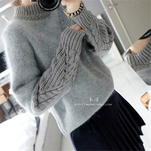 Wholesale- 2016 New Arrival Personality Knitted Sweater Women Pullover Patchwork Sweaters Fashion Loose Female Knitwear SW1152
