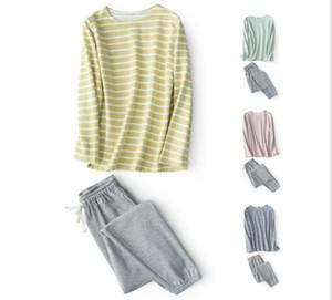 줄무늬의 스트립 스웨터 홈 서비스 정장 코튼 드레스 인쇄하지 않고 잠옷을 입을 수있는 스포츠
