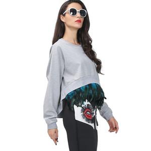 Outono novo super pena emenda destacável casulo estilo assimétrico manga longa camisolas mulheres vestuário