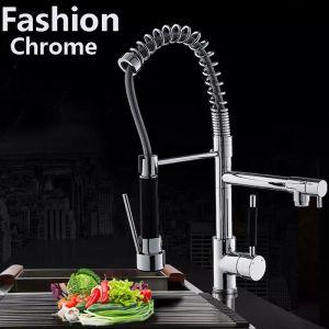 Современный хромированный латунный весенний кухонный кран поворотный носик мойка смеситель кран
