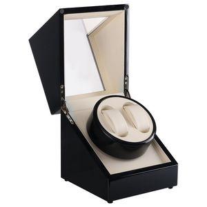 Automatic Horloge Watch Winder Wood Leather Box 2 Grids Roate Motor Watch Winder Case Shipping Uhrenbeweger Remontoir Montre Automatique