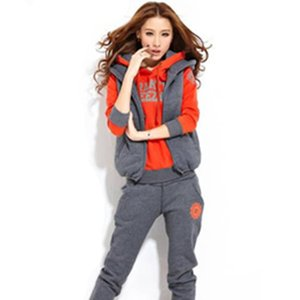 Sports casual suit autumn and winter outdoor suit thicken hoodie three pieces set fashion sports suit free shipping
