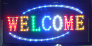 5pcs / lot 도매 비즈니스 환영 사업 상점 오픈 led 간판 직접 판매 10 X 19 인치 semi-outdoor led 저장소에 대 한 네온 사인 Welcome sign