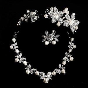 Estilos calientes 2017 Collar de perlas baratos y pendiente Conjunto con tiaras Plateado Plateado Rhinestones Diamond Designer Wedding Bridal Accesorio Joyería