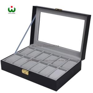Top 12 Grids Slot PU Nuevo Bias Cuero Logo de la marca Caja de reloj Organizador de exhibición Vidrio Superior Almacenamiento de joyas ORGANIZER BOX BLACK Gray Interial