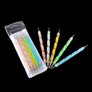 5Pcs-2way Punktierstift Marbleizing-Werkzeug-Nagellack-Lack-Maniküre-Punkt-Nagel-Kunst-Satz