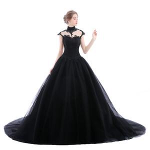 Elegante schwarze gotische Brautkleider Applique Lace Tüll 2018 Illusion Plus Size Spitze Saudi-Arabien Brautkleid Kapelle Zug Ball Braut