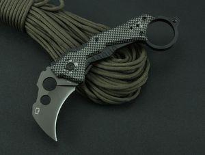 Quartermaster QTR-Z Karambit QTRM5TR Couteau pliant tactique à griffes 3Cr13Mov 55HRC Titane Aluminium Poignée Camping Chasse Survie EDC