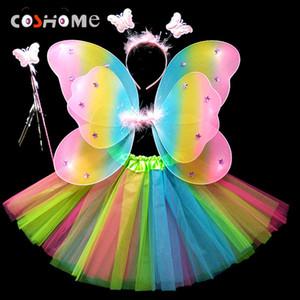 Coshome Niños Mariposa Cosplay Princesa Disfraces Bebés Niños Niños Niños Alas + Falda + Tocado + Varitas 4pcs / set