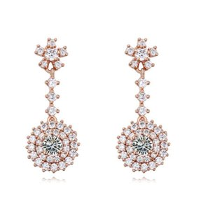 Earrings Jewelry Women Fashion Luxury Exquisite 18K Gold Plated Quality Zircon Sunflowers Drop Earrings Wholesale Drop Shipping TER057