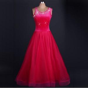 Vestido de dança de salão mulheres azul luxo strass jazz / tango / lulu vestido de dança lady vienense valsa dress sereia traje saia
