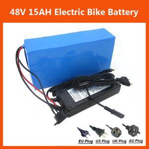 Recarregável 48 V 15AH Bateria de Lítio 48 V 750 W Bicicleta Elétrica Da Bateria 48 V bateria de Scooter com caixa de PVC 54.6 V 2A carregador Frete grátis