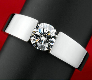 Klasik Nişan 925 gümüş Yüzük erkekler 18 K gerçek beyaz altın kaplama Oklar erkekler kadınlar için CZ Elmas severler promise Ring