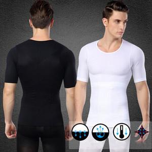 Venta al por mayor-1Pcs Hombres adelgaza la camiseta interior del cuerpo de la talladora de la postura Corrector de la camiseta Elástica Sculpting Abdomen Trimmer 2 colores de la ropa interior