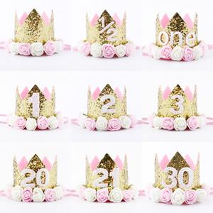 Hot New Birthday Sparkly Party Crown Artificial rosa y cremosa Rose Flowers diadema Tiara fiesta de cumpleaños Crown Headband HJ151