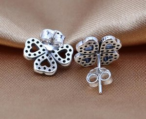 High-quality Stud Earring S925 Sterling For Romantic Four Day 2021 With CZ Fits Clover Gift Valentine's Silver Leaf Pandora Jewelry Nixqt