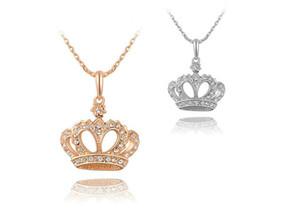 Moda Coroa de Cristal Colar de Jóias Para As Mulheres Melhor Presente de Alta Qualidade Pingente Jewlery 2 Cores Min Order 12 pcs G137-46