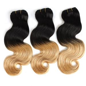 """Greatremy® Ombre Saç Atkı Dip Boya İki Ton # T1B / # 27 Renk Brezilyalı Ombre İnsan Saç 14 """"-30"""" Saç Uzatma Vücut Dalga 8A 3adet"""