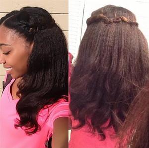 Parrucche dei capelli umani anteriori del pizzo di densità di 150% per le parrucche nere anteriori del pizzo delle donne 7A Parrucche piene dei capelli umani del pizzo di Wave brasiliano di Yaki del corpo (Cina)