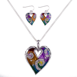 MS1504511 Fashion Jewelry Sets High Quality Necklace Sets For Women Jewelry Multicolored Crystal Unique Love Heart Design