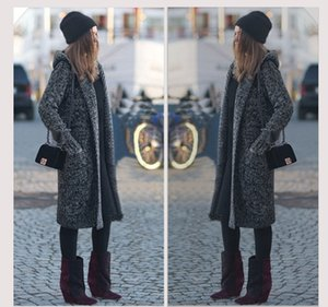 2016 Nuevas Mujeres Otoño / Invierno Gran Tamaño Cardigan Gordo MM Largo Suéter Con Capucha Grueso Tejido Suéter Abrigo Flor Gris Mujer