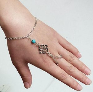 Europe and the United States Fashion Hand Chain Blue Turquoise Connection Finger Bracelet
