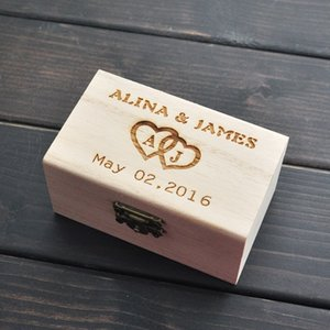 Сельский Обручальное кольцо предъявителя Box, персонализированный обручальное кольцо коробки, деревянные кольца держатель Box, Свадебный декор Индивидуальные свадебные подарки