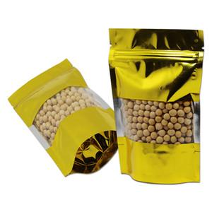 100Pcs / Lot oro zip blocco termico doypack pacchetto di foglio di alluminio con la finestra di plastica trasparente stare in piedi Mylar dorato sacchetti a chiusura lampo
