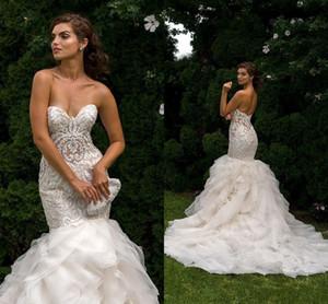 2017 Vestidos Novos Sereia Vestidos De Casamento Querida Lace Apliques Ilusão Frisado Tribunal Trem Babados Em Camadas Plus Size Vestido De Noiva Formal