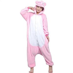 Yetişkinler pembe domuz Fanila Pijama All In One Pijama Cosplay Kostümler Suits Yetişkin Konfeksiyon Sevimli Domuz Karikatür Hayvan Onesies Pijama Tulum