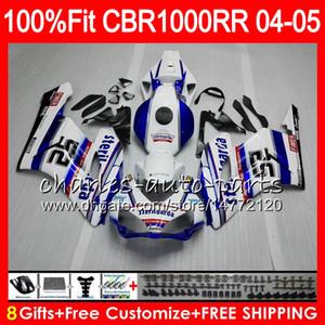 Corps d'injection pour HONDA blanc bleu CBR 1000RR 04 05 Carrosserie CBR 1000 RR 79HM11 CBR1000RR 04 05 CBR1000 RR 2004 2005 Kit de carénage 100% Fit