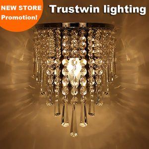 Gümüş Art Deco Tarzı koridor LED merdiven koridor oturma odası yatak odası kristal başucu duvar ışık lamba aplik
