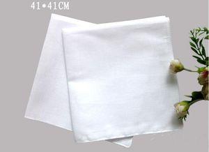 Pure White HANKERCHIEFS 100% coton Mouchoirs Femmes Hommes 41cm * 41cm Pocket Place mariage bricolage Plaine Imprimer Dessiner hankie
