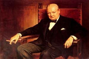 SIR WINSTON CHURCHILL PREMIER MINISTRE, Peint à la main de haute qualité HD Imprimer Leader Portrait Art Peinture à l'huile sur Toile Multi Tailles
