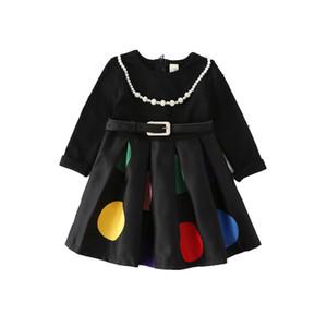 Çocuk Yuvarlak Nokta Elbiseler Ücretsiz Kolye ile Sonbahar Çocuklar Siyah Yuvarlak Yaka Elbise Prenses DHL Ücretsiz Kargo