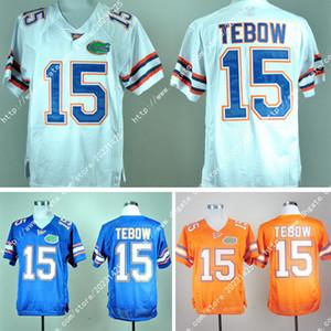 Yeni Toptan Florida # 15 Tim Tebow Sınırlı Gators Turuncu Beyaz Mavi Jersey Amerika Koleji Futbol Forması Nakış Logolar Dikişli Jersey