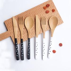 Al por mayor-3pcs / set de bambú cuchillo de madera tenedor conjunto de cuchara juego de vajilla portátil cena herramientas Wave Point Handle vajilla