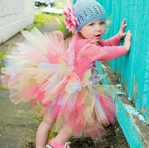 New Infant Baby Girls Lace Tulle Rainbow Skirt Kids Tutu Party Princess Skirt Children Bubble Skirts Ball Gown Colorful Short Dress